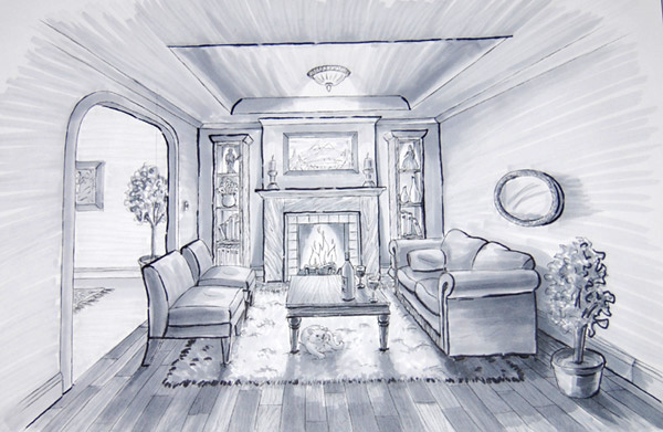 One Point Perspective Living Room
